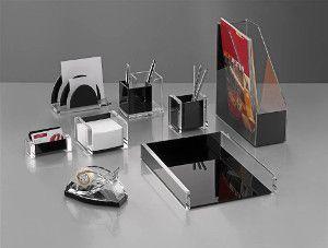 Wedo Schreibtischset Acryl Exklusiv Glasklar Schwarz 8 Teile